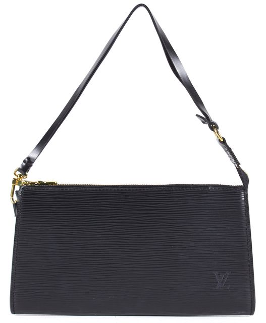 LOUIS VUITTON Black Wristlet Epi Leather Pochette Top Handle Shoulder Bag