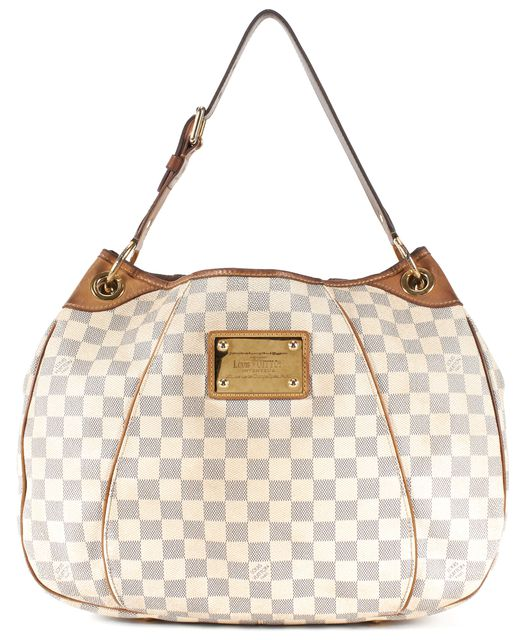 LOUIS VUITTON White Damier Azur Coated Canvas Galliera PM Hobo Bag