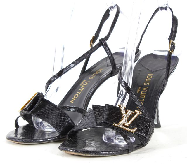 LOUIS VUITTON Black Embossed Leather Rhinestone Slingback Heels Sandals