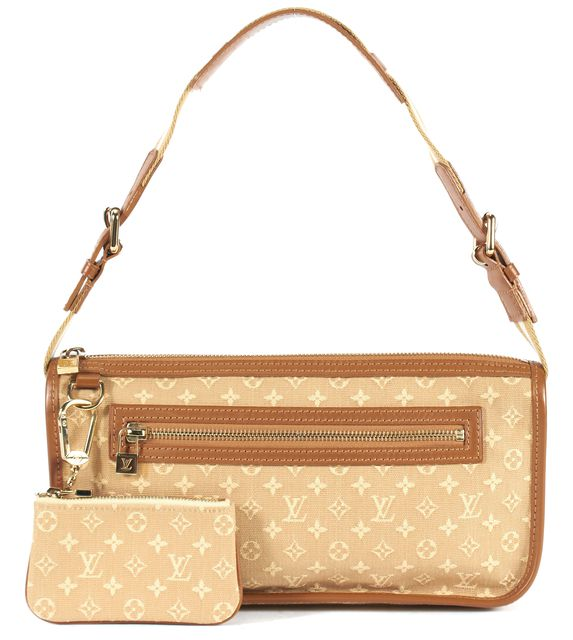LOUIS VUITTON Monogram Beige Canvas Shoulder Bag With Coin Purse