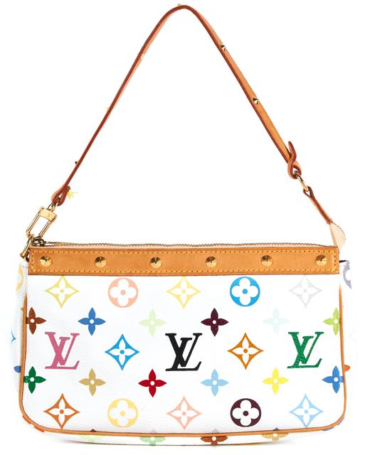 LOUIS VUITTON White Monogram Coated Canvas Pochette Shoulder Bag