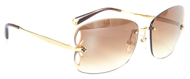 LOUIS VUITTON Gold Metal Wire Rimless Gradient Lens Sunglasses w/ Case