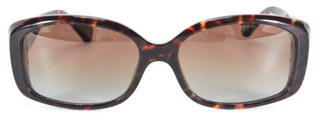 LOUIS VUITTON Brown Tortoise Shell Gold Hardware Rectangular Sunglasses w/ Case