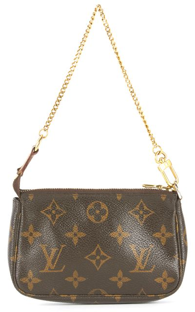 LOUIS VUITTON Brown Monogram Coated Canvas Chain Strap Pochette Bag