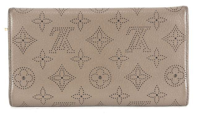 LOUIS VUITTON Taupe Monogram Mahina Leather Gold-Tone Press-Lock Amelia Wallet