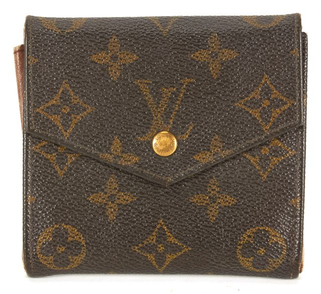 LOUIS VUITTON Vintage 1990 Brown Monogram Coated Canvas Double Bifold Wallet