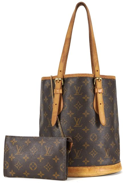 LOUIS VUITTON Brown Monogram Coated Canvas Petit Bucket Shoulder Bag