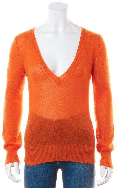 LOUIS VUITTON Bright Orange Sheer Thin Knit Cashmere V-Neck Sweater