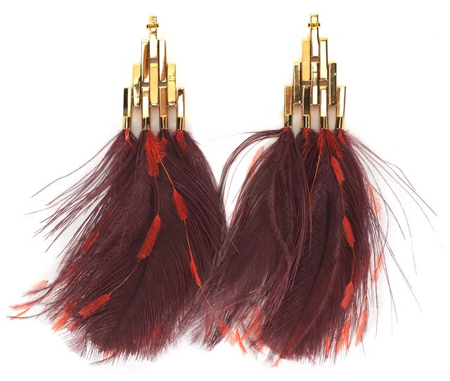 LOUIS VUITTON Gold Red Feather Crystal Drop Fashion Earrings