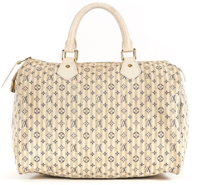 LOUIS VUITTON White Blue Mini Lin Croisette Speedy 30 Top Handle Bag