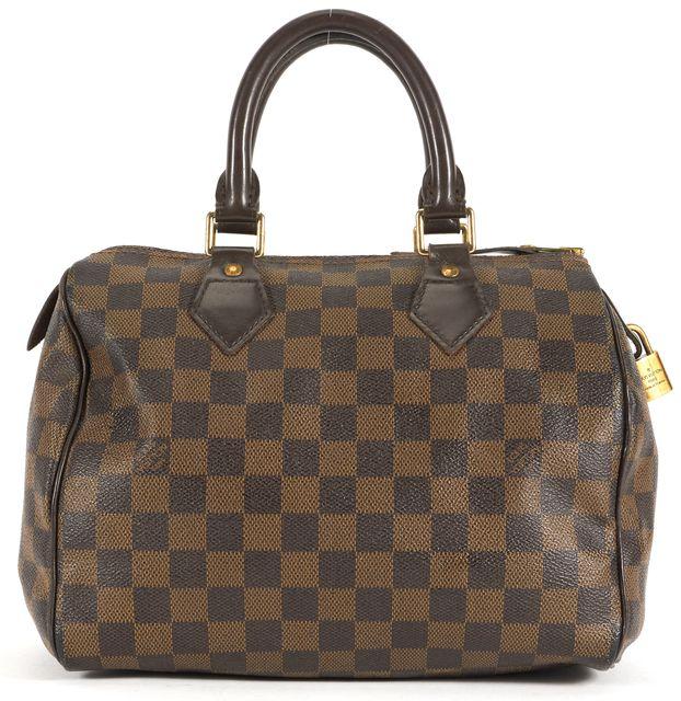 LOUIS VUITTON Brown Damier Ebene Coated Canvas Speedy 25 Top Handle Bag