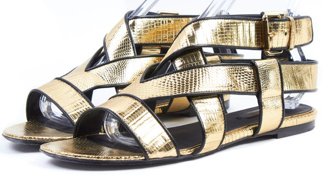 LOUIS VUITTON Metallic Gold Snake Embossed Leather Sandals
