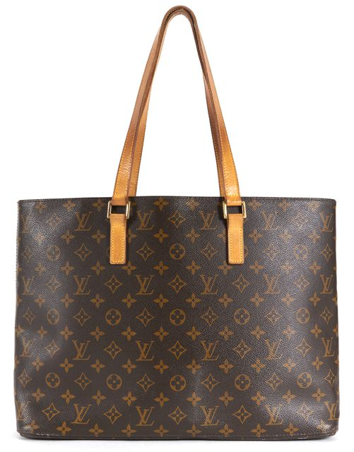 LOUIS VUITTON Brown Monogram Coated Canvas Leather Trim Luco Tote Bag