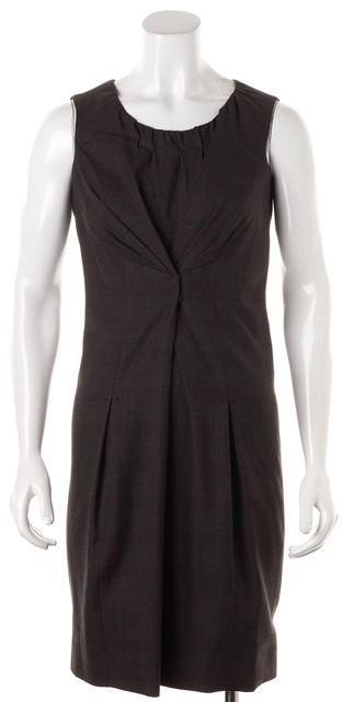LOUIS VUITTON Brown Blue Plaid Wool Silk Sleeveless Sheath Dress