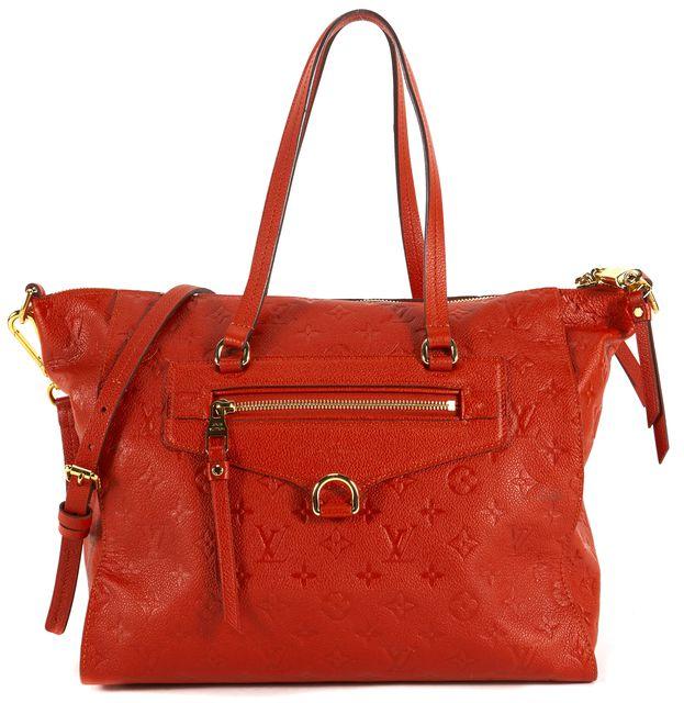 LOUIS VUITTON Red Monogram Leather Empreinte Lumineuse PM Satchel Bag