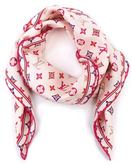 LOUIS VUITTON Pink Silk Happy Monogram Scarf