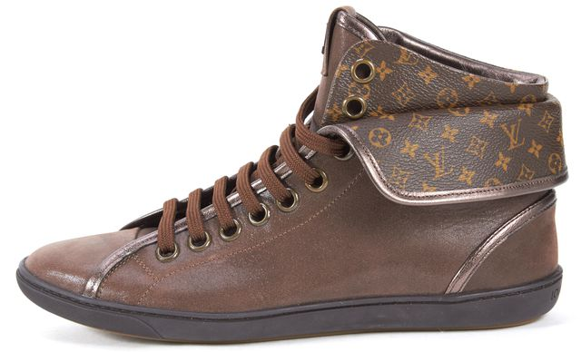 LOUIS VUITTON Brown Coated Suede Monogram Canvas Brea Sneakers