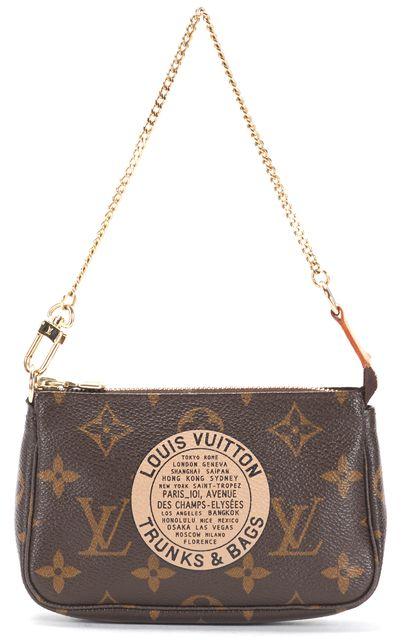 LOUIS VUITTON Brown Monogram Coated Canvas Trunks & Bags Mini Pochette Bag
