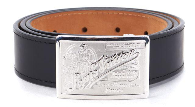 LOUIS VUITTON Black Leather Silver-Tone Logo Buckle Belt