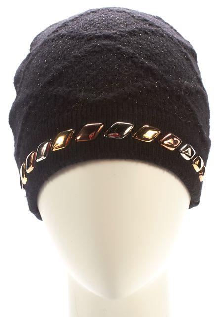LOUIS VUITTON Black Knit Embellished Beanie Hat