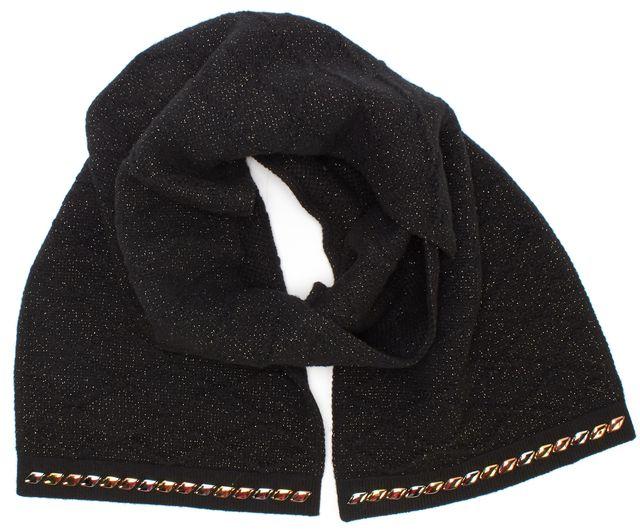 LOUIS VUITTON Black Wool Cashmere Embellished Wool Scarf