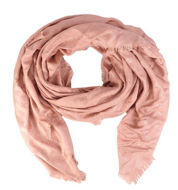 LOUIS VUITTON Solid Pink LV Monogram Silk Scarf Shawl Wrap
