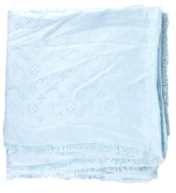 LOUIS VUITTON Solid Blue LV Monogram Silk Scarf Shawl Wrap
