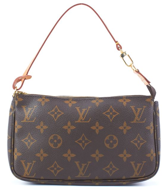 LOUIS VUITTON Brown Monogram Coated Canvas Leather Strap Pochette Bag