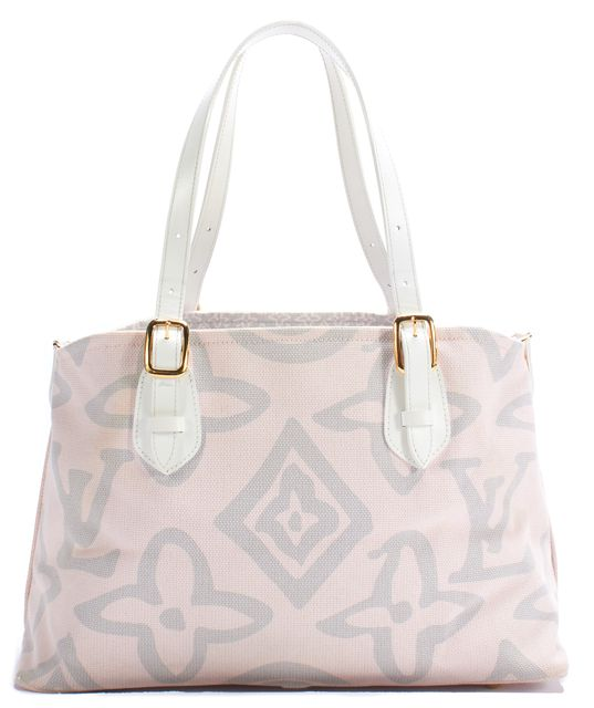 LOUIS VUITTON Pink Tahitienne Cabas GM Rose White Strap Shoulder Bag