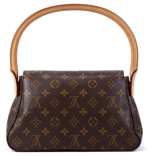 LOUIS VUITTON Brown Monogram Canvas Mini Looping Handbag