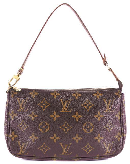 LOUIS VUITTON Brown Monogram Coated Canvas Leather Strap Pochette Shoulder Bag