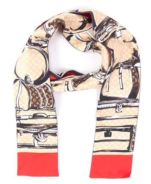 LOUIS VUITTON Beige Brown Red White Abstract Silk Scarf