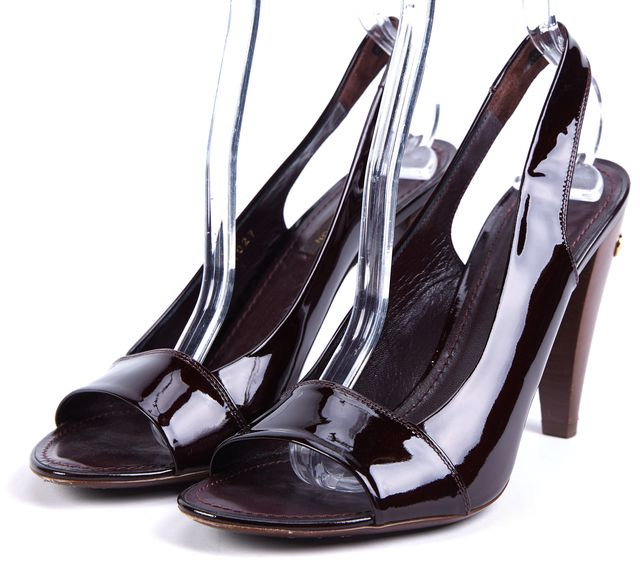 LOUIS VUITTON Wine Patent Leather Open Toe Slingback Heels