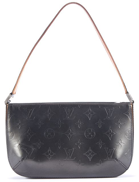 LOUIS VUITTON Dark Silver-Gray Embossed Monogram Logo Small Leather Shoulder Bag