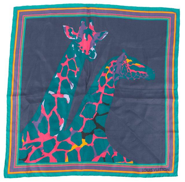 LOUIS VUITTON Multi-color Silk Leopard Giraffe Scarf