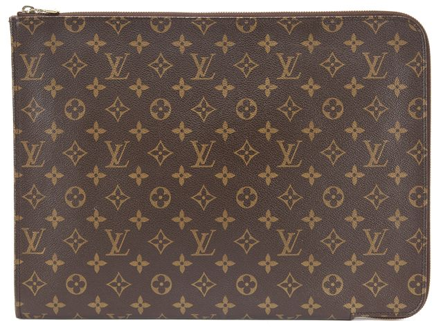 LOUIS VUITTON Brown Monogram Zip Around Leather Laptop Case