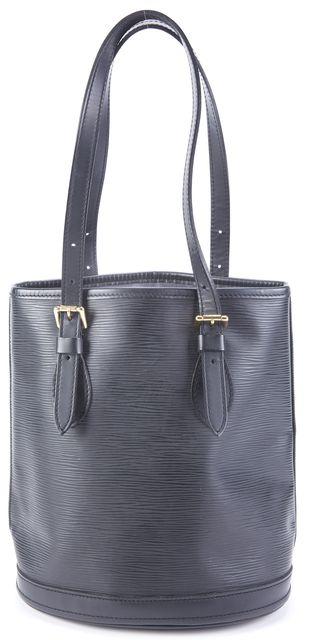 LOUIS VUITTON Black Leather Tote Handbag