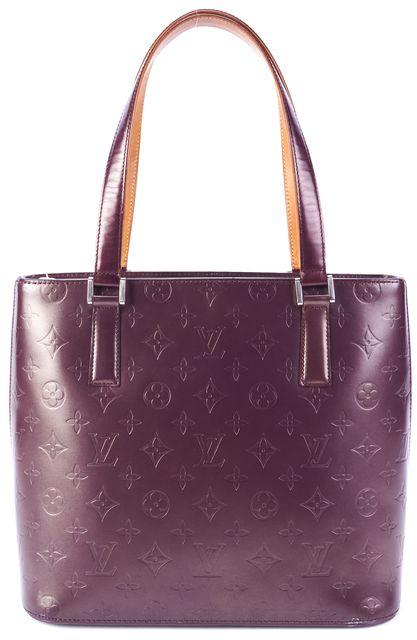 LOUIS VUITTON Purple Coated Leather Monogram Tote Handbag