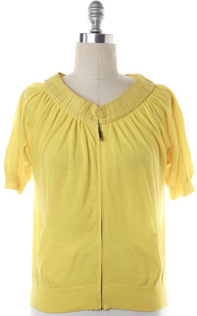 MAGASCHONI Yellow Full Zip Short Sleeve Sweater