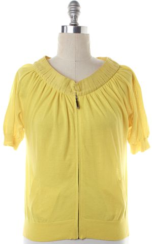 MAGASCHONI Yellow Full Zip Short Sleeve Sweater
