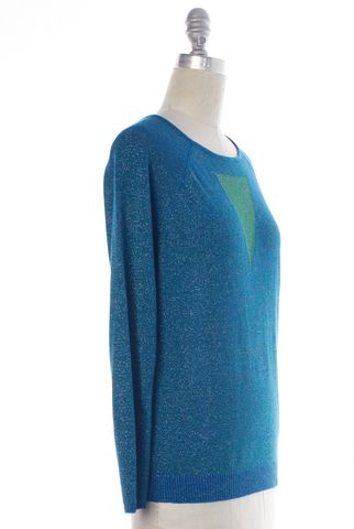 MAJE Blue Green Metallic Long Sleeve Knit Top Size S