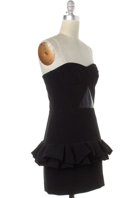 MAJE Black Flounced Trim Corset Dress
