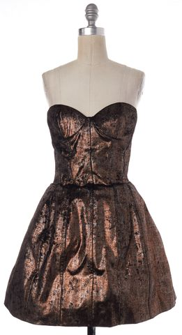 MAJE Bronze Metallic Strapless Bustier Corset Mini Dress Size 8