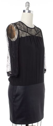 MAJE Black Silk Lace Blouson Dress Size S