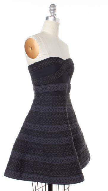 MAJE Black Gray Striped Bandage Fit Flare Dress