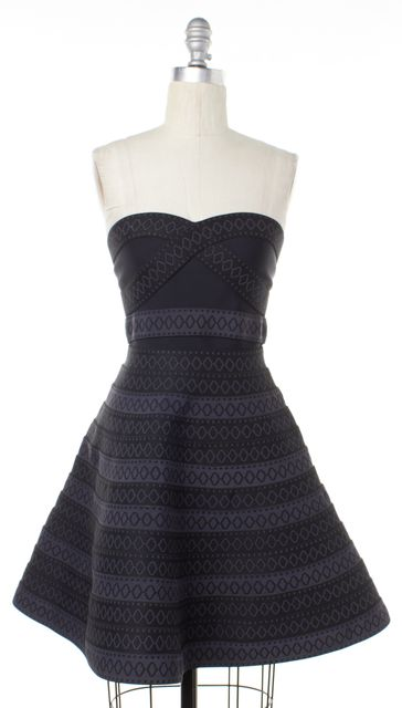 MAJE Black Gray Striped Bandage Fit Flare Dress
