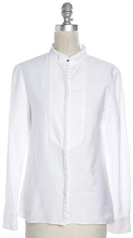 MAJE White Mandarin Collar Button Down Shirt