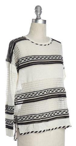 MAJE White Black Silver Striped Open Knit Top