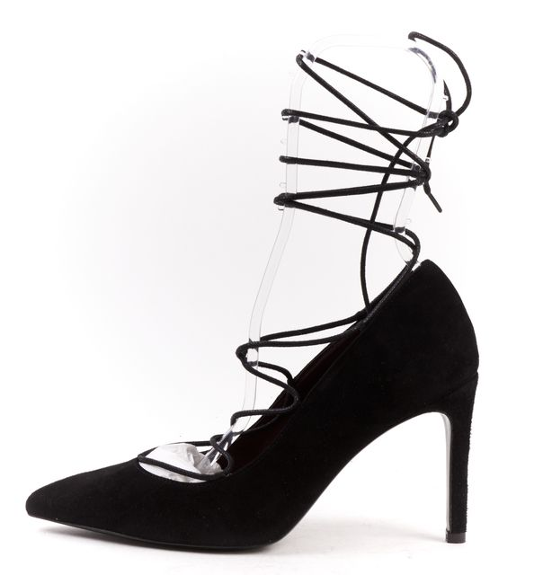 MAJE Black Suede Foxy Lace Up Pointed Toe Heels