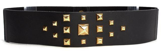 MAJE Black Leather Elastic Gold Stud Snap Button Belt